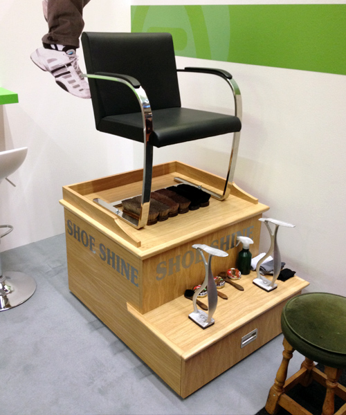 Shoe Shine Stand and Brushes